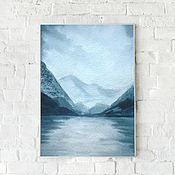 Картины и панно handmade. Livemaster - original item Watercolor Painting Blue mountains. Handmade.