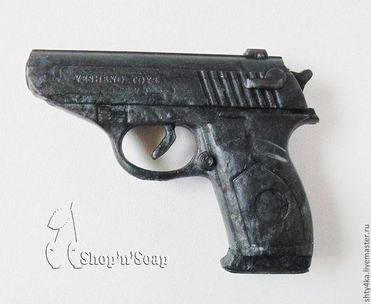 """Мыло ручной работы. Ярмарка Мастеров - ручная работа. Купить Мыло """"Пистолет"""" 3D подарок мужчине. Handmade. синий, пистолет"""