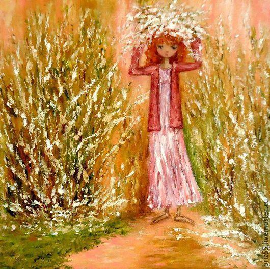 Люди, ручной работы. Ярмарка Мастеров - ручная работа. Купить Картина маслом В розовых мечтах. Handmade. Разноцветный