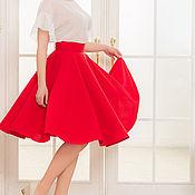 Одежда ручной работы. Ярмарка Мастеров - ручная работа Красная юбка-солнце, юбка на каждый день. Handmade.