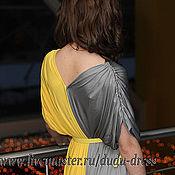 Одежда ручной работы. Ярмарка Мастеров - ручная работа Двухцветное платье серо-жёлтое в пол. Handmade.