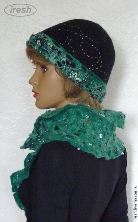 """Комплекты аксессуаров ручной работы. Ярмарка Мастеров - ручная работа. Купить Валяный комплект """"Изумрудная ночь"""" шляпка шарф зелёный чёрный женский.. Handmade."""