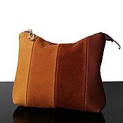 Сумки и аксессуары handmade. Livemaster - original item Large brown-red suede cosmetic bag Patchwork. Handmade.