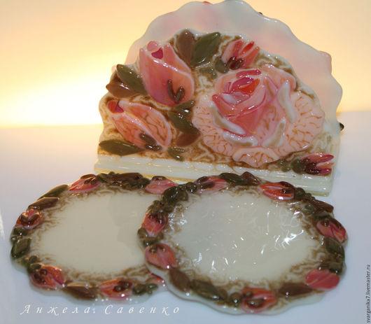 """Кухня ручной работы. Ярмарка Мастеров - ручная работа. Купить Салфетница + 2 подставки под чашки """"Тайна Розы"""". Handmade."""
