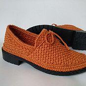 Обувь ручной работы handmade. Livemaster - original item Shoes loafers womens knitted ( cotton ). Handmade.