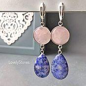 Украшения handmade. Livemaster - original item Earrings with blue sodalite and rose quartz on silver clasps. Handmade.