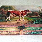 """Для дома и интерьера ручной работы. Ярмарка Мастеров - ручная работа Шкатулка """" Большая и красивая корова"""". Handmade."""