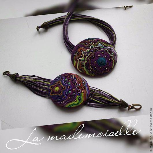 Комплект `Сиреневый сон`.Ручная работа,полимерная глина,la mademoiselle, handmade.