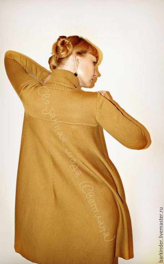 """Платья ручной работы. Ярмарка Мастеров - ручная работа. Купить Вязаное платье """"Разлетайка"""". Handmade. Однотонный, вязание на заказ, оливковый"""