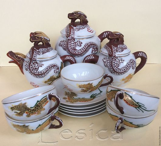 Винтажная посуда. Ярмарка Мастеров - ручная работа. Купить Чайный сервиз Satsuma Драконы Япония 30-40гг. Handmade. satsuma