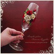 """Свадебный салон ручной работы. Ярмарка Мастеров - ручная работа Свадебные бокалы """"Красные розы и кружево"""" разные цвета. Handmade."""