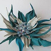 Украшения handmade. Livemaster - original item Flower made of leather. Brooch made of leather.