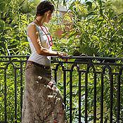 Юбки ручной работы. Ярмарка Мастеров - ручная работа Длинная юбка, уютная юбка макси, юбка в бохо стиле, эко стиль Сакура. Handmade.