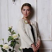 Одежда handmade. Livemaster - original item The white jacket of fine wool Merino and silk