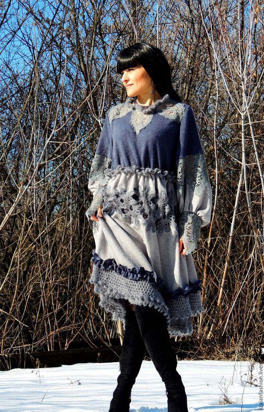 платье зимнее, платье вязаное, платье шерстяное, платье из ангоры, платье с кружевом, платье осеннее