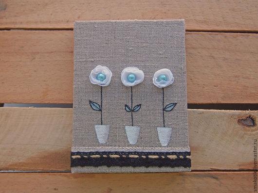 """Блокноты ручной работы. Ярмарка Мастеров - ручная работа. Купить Блокнот """"Цветочки в горшочках"""". Handmade. Белый, блокнот ручной работы"""