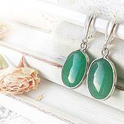 Украшения handmade. Livemaster - original item Earrings aventurine silver green earrings with stone. Handmade.