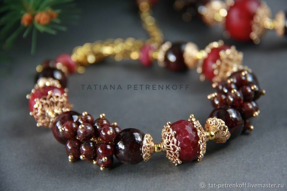 Bracelet of garnet and Jasper with gold plated /24K/ 'Burgundy', Bead bracelet, Moscow,  Фото №1
