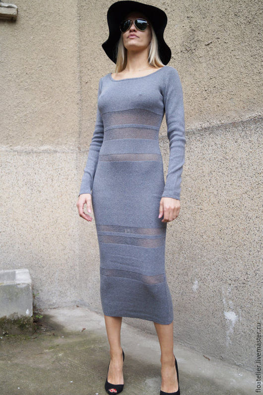 Платья ручной работы. Ярмарка Мастеров - ручная работа. Купить Серое вязаное платье/Модное серое платье/F1577. Handmade. Серый, юбка
