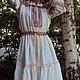 """Платья ручной работы. Ярмарка Мастеров - ручная работа. Купить Платье с поликами """"Макошь"""". Handmade. Белый, длинное платье"""