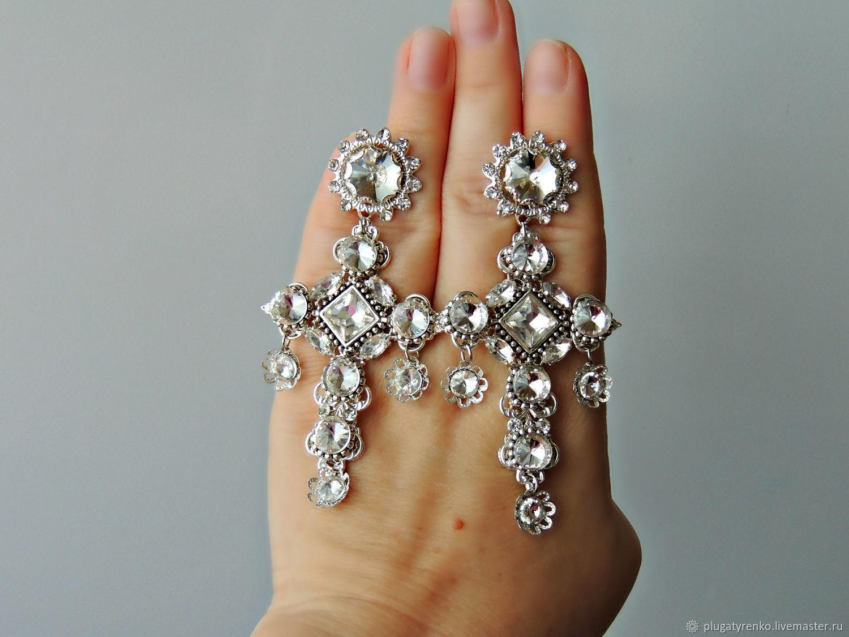 Серьги-кресты  -  Византийское серебро (crystal), Серьги классические, Калач,  Фото №1
