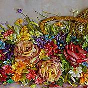 """Картины и панно ручной работы. Ярмарка Мастеров - ручная работа Картина лентами""""лето в корзине"""". Handmade."""