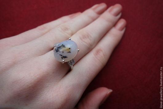 """Кольца ручной работы. Ярмарка Мастеров - ручная работа. Купить """"Модерн""""- стильное кольцо 18,7 разм. с дендрическим опалом. Handmade."""