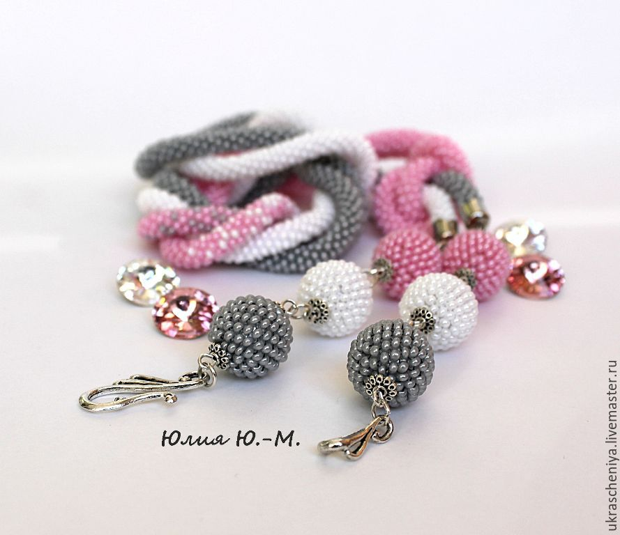 Lariat 'Gray-pink haze', a harness of beads, Lariats, Ryazan,  Фото №1