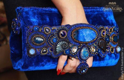 Женские сумки ручной работы. Ярмарка Мастеров - ручная работа. Купить сумочка ''Бархатный сапфир  ''. Handmade. Синий, пирит