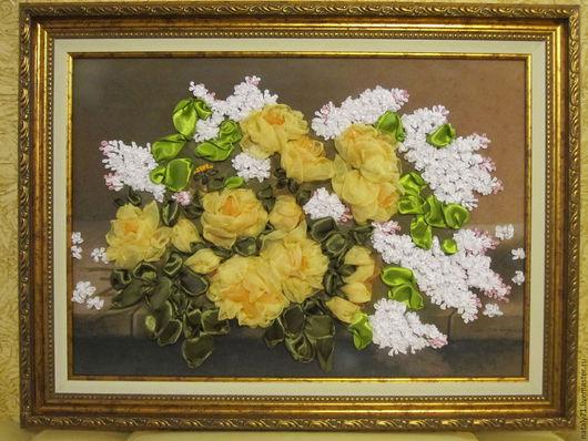 Картины цветов ручной работы. Ярмарка Мастеров - ручная работа. Купить Картина Желтые розы, белая сирень.... Handmade. Желтый