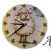 """Для дома и интерьера ручной работы. Ярмарка Мастеров - ручная работа Часы двусторонние """"Посчитай овечек"""". Handmade."""