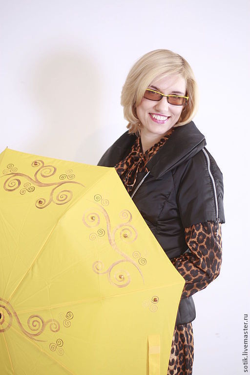"""Зонты ручной работы. Ярмарка Мастеров - ручная работа. Купить """"Янтарный берег"""" зонт с росписью. Handmade. Желтый, зонт, золотой"""
