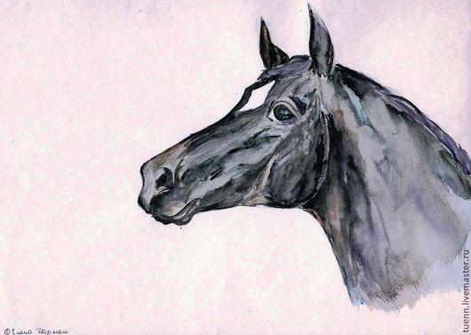 Животные ручной работы. Ярмарка Мастеров - ручная работа. Купить Портрет вороной лошади. Handmade. Картина в подарок, животные, конь