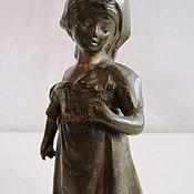 Винтаж handmade. Livemaster - original item European antique bronze Antique figurine Girl. Handmade.