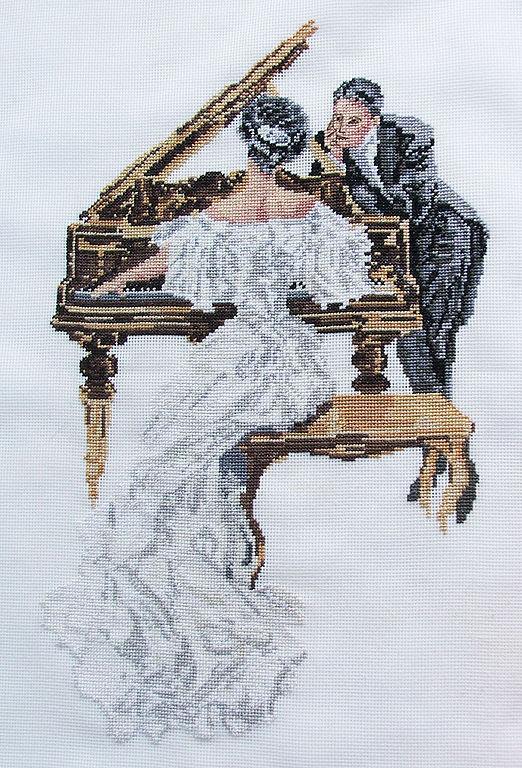 Люди, ручной работы. Ярмарка Мастеров - ручная работа. Купить пианистка. Handmade. Чёрно-белый, пианино, музыка, фортепьяно, вышивка