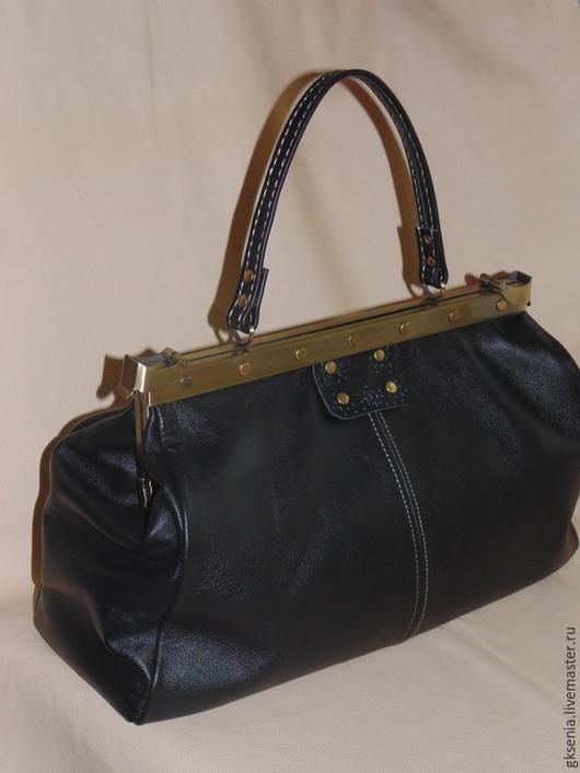 Женские сумки ручной работы. Ярмарка Мастеров - ручная работа. Купить Саквояж кожаный. Handmade. Черный, Кожаная сумка, женский