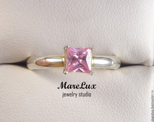 """Кольца ручной работы. Ярмарка Мастеров - ручная работа. Купить Кольцо """"Розовый бриллиант Принцессы"""" в серебре MareLux. Handmade. фианит"""