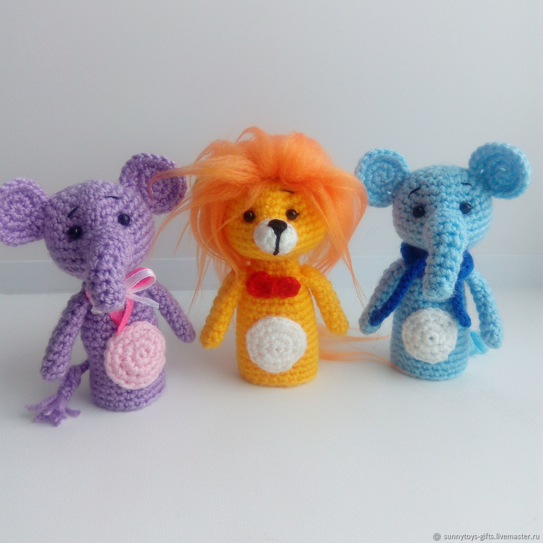 Finger toys Zoo lion Elephant Elephant hippopotamus, Stuffed Toys, Berezovsky,  Фото №1