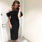 Одежда ручной работы. Ярмарка Мастеров - ручная работа Вечернее черное платье с воланом. Handmade.