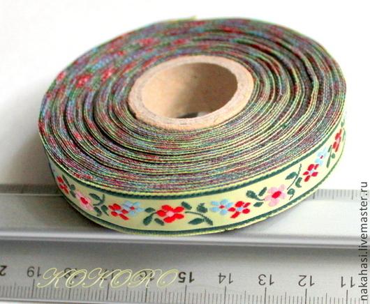 """Другие виды рукоделия ручной работы. Ярмарка Мастеров - ручная работа. Купить Лента жаккардовая 14мм """"цветочки"""" (тесьма). Handmade."""
