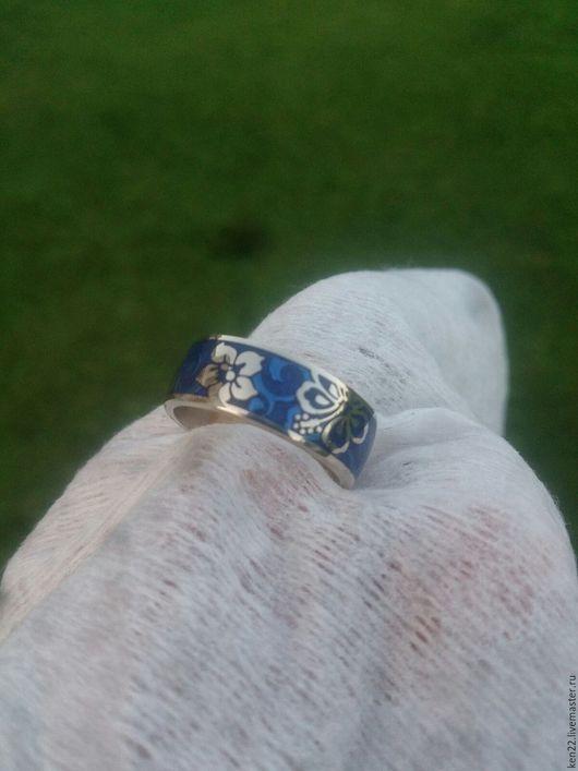 Кольца ручной работы. Ярмарка Мастеров - ручная работа. Купить Женское кольцо (белое золото +горячая эмаль). Handmade. цветы
