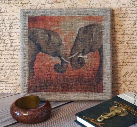 """Животные ручной работы. Ярмарка Мастеров - ручная работа. Купить Картина """"Слоны"""". Handmade. Картина, слон"""