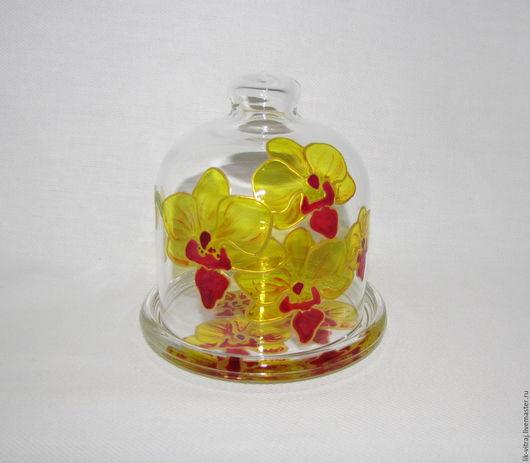 Конфетницы, сахарницы ручной работы. Ярмарка Мастеров - ручная работа. Купить Орхидея. Лимонница - подставка под лимон, витражная роспись. Handmade.