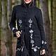 Верхняя одежда ручной работы. Ярмарка Мастеров - ручная работа. Купить Вязаное пальто 14WJ16. Handmade. Черный, узор, капюшон