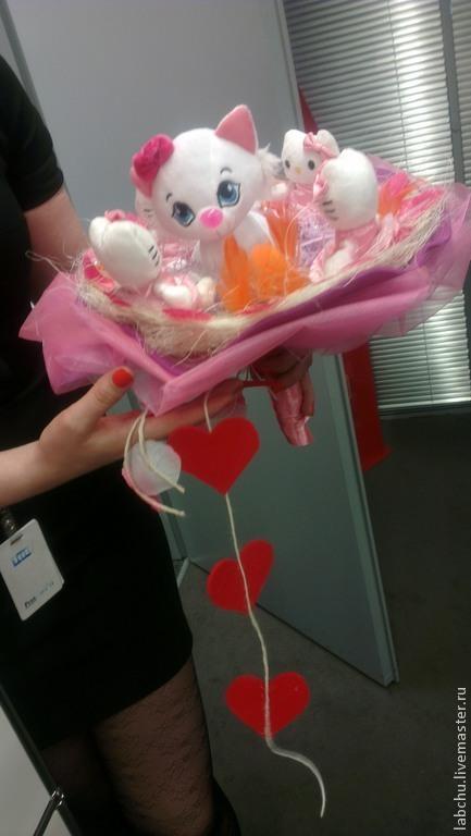 """Подарки для влюбленных ручной работы. Ярмарка Мастеров - ручная работа. Купить Милый букет """"Kitty"""". Handmade. Розовый, день рождения"""