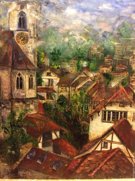 Город ручной работы. Ярмарка Мастеров - ручная работа. Купить Крыши Швейцарии. Handmade. Комбинированный, картина для интерьера, городской пейзаж