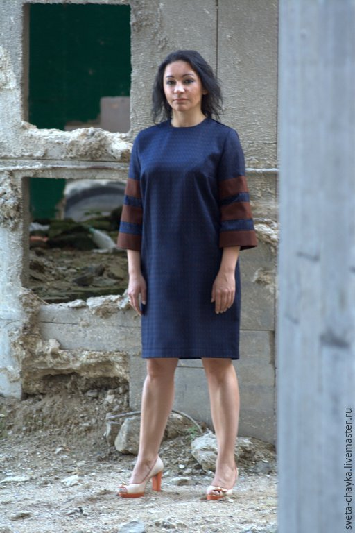 Платья ручной работы. Ярмарка Мастеров - ручная работа. Купить Платье синее платье с рукавами платье полушерсть платье спортивное. Handmade.