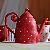 """Посуда ручной работы. Ярмарка Мастеров - ручная работа Набор посуды """" Цвет клубники"""". Handmade."""