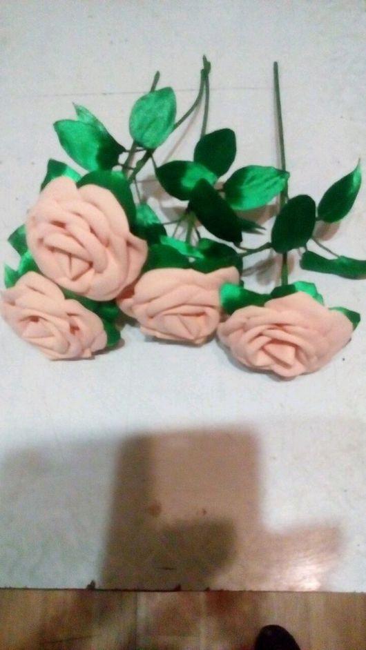 Заколки ручной работы. Ярмарка Мастеров - ручная работа. Купить Роза из фоамарина и ленты. Handmade. Роза, фоамиран, проволока