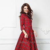 Одежда ручной работы. Ярмарка Мастеров - ручная работа Теплое шерстяное Платье в пол красная шотландская клетка. Handmade.